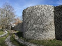 Altilia - Exterior of the walls. Altilia, Sepino, Campobasso, Molise, Italy - March 8, 2018: Section of the walls of the small Roman city of Samnite origins stock image