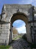 Altilia - Porta Bojano. Altilia, Sepino, Campobasso, Molise, Italy - 8 March 2018: Porta Bojano, one of the accesses of the small Roman city of Samnite origins stock photos