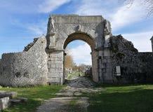 Altilia - Porta Bojano from the outside. Altilia, Sepino, Campobasso, Molise, Italy - 8 March 2018: Porta Bojano, one of the accesses of the small Roman city of stock photography