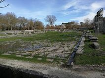 Altilia - The Roman Forum. Altilia, Sepino, Campobasso, Molise, Italy - 8 March 2018: Remains of the square of the small Roman city of Samnite origins built royalty free stock photography