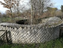 Altilia - Section of a tower. Altilia, Sepino, Campobasso, Molise, Italy - March 8, 2018: Horizontal cut of the tower of the walls of the small Roman city of royalty free stock photo