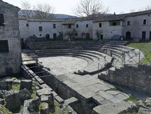 Altilia - Theater. Altilia, Sepino, Campobasso, Molise, Italy - 8 March 2018: Cavea of the theater of the small Roman city of Samnite origins built along the royalty free stock photos