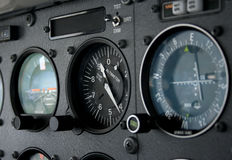 Altimeter. Shown are the Artificial Horizon, the Altimeter and the VOR instrument. The aircraft is a Cessna 172R from 1997 Stock Photography