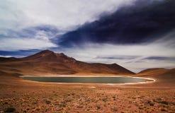 Altiplanic盐水湖在智利 免版税库存图片