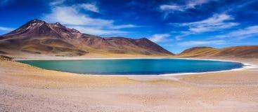 Altiplanic lagoon in Atacama. Desert between mountains stock photo