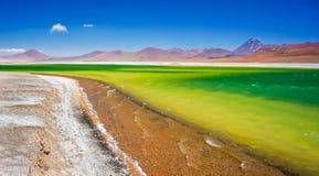 Altiplanic lagoon in Atacama. Green and yellow lagoon in Atacama desert stock photo