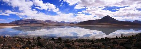 altiplano玻利维亚湖反映的全景 库存照片