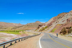 Altiplano desert arid landscape and asphalt road. From Argentina to Chile, hitch-hiking backpacker walking Royalty Free Stock Images