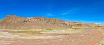 Altiplano landskapöken River Valley Arkivbilder