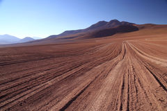 Altiplano Road. Desert road through remote part of southern Altiplano royalty free stock photo