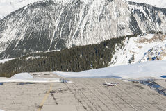 Altiport airport in an alpine mountain Stock Photography