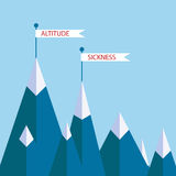 Altitude sickness mountains. Concept. Vector illustration for high above sea level disease, hypoxia, breathing problems while climbing, hiking sport Stock Photo