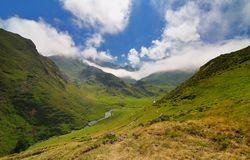 Altitude valley in the Pyrenees. Ultra wide angle photography of an altitude valley in the Pyrenees, France Stock Photos
