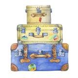Altmodische gelbe und blaue Hippiekoffer mit Aufkleber Stockbilder