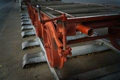 Altmodische veraltete Bahnwalzgutnahaufnahme für freigh stockfotos