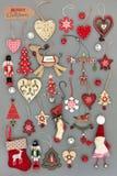 Altmodische Weihnachtsdekorationen Lizenzfreies Stockbild