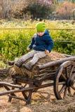 Altmodischer kleiner Junge, der an einem hölzernen Wagen der Weinlese sitzt lizenzfreies stockfoto