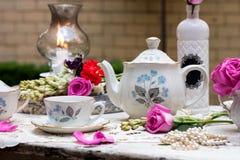 Altmodischer Teesatz im Garten Lizenzfreie Stockfotografie
