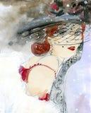 Altmodisches Mädchen in einem Hut Stockfoto