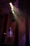 Altmodisches Mikrofon und Lichter Stockbild
