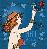 Altmodisches Plakat in der Jugendstilart mit trinkendem Champagner der Retro- Frau und Blumenrahmen lizenzfreie abbildung