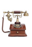 Altmodisches Telefon auf weißem getrenntem Hintergrund Lizenzfreies Stockbild