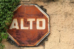 Alto. Spanish stop sign in Guatemala Royalty Free Stock Photography