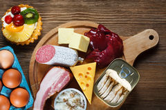 Alto - alimentos do colesterol fotos de stock royalty free