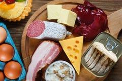 Alto - alimentos do colesterol fotografia de stock royalty free