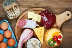 Alto - alimentos do colesterol imagem de stock royalty free