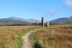 Alto cerchio di pietra sull'isola di Arran Fotografia Stock