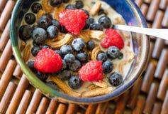 Alto cereal de la fibra con la fruta fresca Imagen de archivo libre de regalías