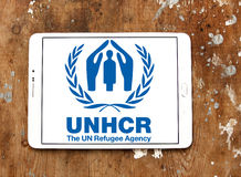 Alto comissário de United Nations para o logotipo do UNHCR dos refugiados Imagem de Stock Royalty Free
