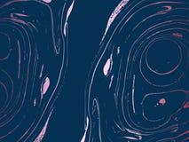 Alto contrasto astratto che marmorizza il fondo blu e rosa di vettore Fotografia Stock