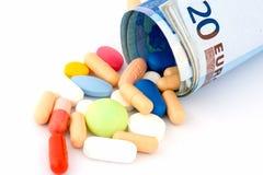 Alto coste de medicina Imágenes de archivo libres de regalías