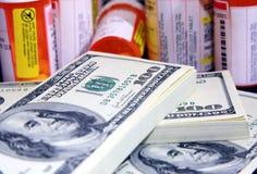 Alto coste de meds de la prescripción Imágenes de archivo libres de regalías