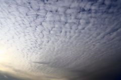 Alto cumulus clouds on a blue summer sky stock photo