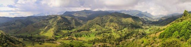 Alto de la Cruz Viewpoint Panorama Salento, Eje Cafetero, Colombia Arkivfoto