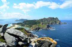 Alto del Principe viewpoint (Islas Cies, Spain). General view of the Cies Islands, from the Alto del Principe viewpoint (Galicia, Spain royalty free stock image