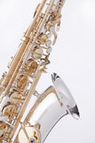 Alto del saxofón aislado en blanco Imagen de archivo