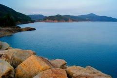 Alto depósito de la isla en Hong Kong Geo Park foto de archivo