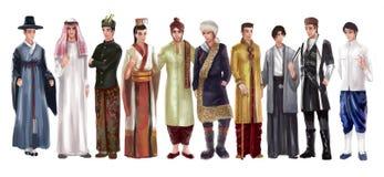 Alto ejemplo de la historieta del detalle del hombre masculino asiático tradicional stock de ilustración