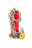 Alto el fuego - bala encadenada con vertical del candado Fotografía de archivo libre de regalías