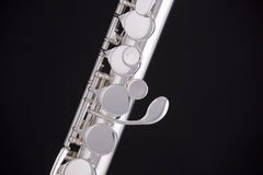 Alto Flute Isolated On Black Stock Photos