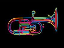 Alto horn. Stylized alto horn over black background Royalty Free Stock Photos