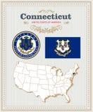 Alto insieme dettagliato di vettore con la bandiera, stemma Connecticut Manifesto americano Cartolina d'auguri Fotografia Stock Libera da Diritti