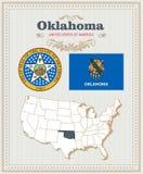 Alto insieme dettagliato di vettore con la bandiera, stemma Oklahoma Manifesto americano Cartolina d'auguri Fotografia Stock