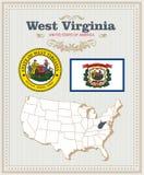 Alto insieme dettagliato di vettore con la bandiera, Virginia Occidentale della stemma Manifesto americano Cartolina d'auguri Fotografia Stock