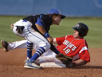 Alto juego de béisbol de los escolares Foto de archivo
