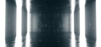 Alto lerciume concreto dettagliato vuoto che guarda stanza con Stri leggero illustrazione di stock
